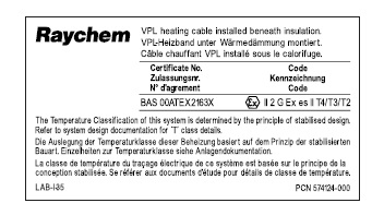 PI-LABEL-EX (1244-006940) Алюминиевая пластина для маркировки кабеля Circuit identification lable for PI heating cables
